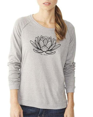 Women's Rising Lotus Eco Mock Pullover - Breathe in Detroit
