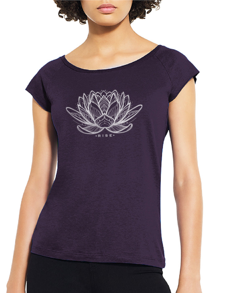 Women's Bamboo Rising Lotus Raglan Tee - Breathe in Detroit