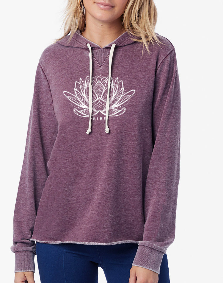 Women's Rising Lotus French Terry Pullover Hoodie - Breathe in Detroit