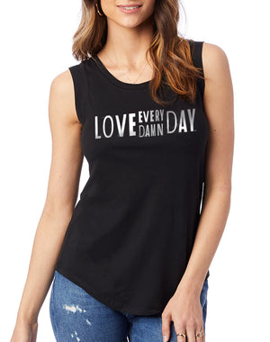 Women's Love Every Damn Day Cap-Sleeve Tank - Breathe in Detroit