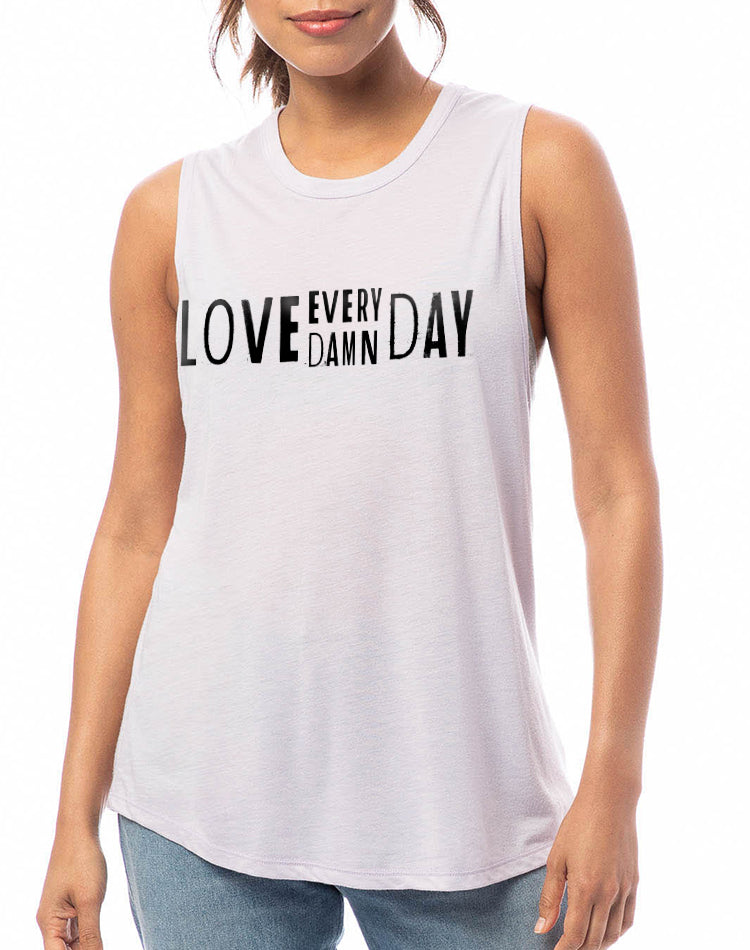 Women's Love Every Damn Day Slinky Muscle Tank - Breathe in Detroit