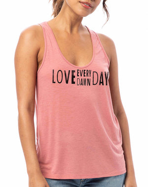 Women's Love Every Damn Day Slinky Jersey Tank - Breathe in Detroit