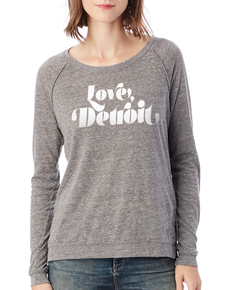 Women's Detroit Love Long-Sleeve Raglan Pullover - Breathe in Detroit