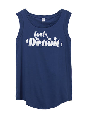 Women's Detroit Love Cap-Sleeve Satin Cotton Tee - Breathe in Detroit