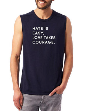 Unisex Love Takes Courage Vintage Muscle Tank - Breathe in Detroit