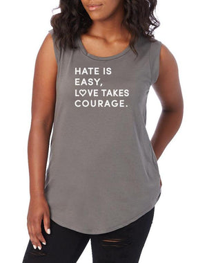 Women's Love Takes Courage Cap Sleeve Tee - Breathe in Detroit
