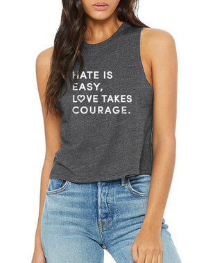 Women's Love Takes Courage Racer Crop Tank - Breathe in Detroit