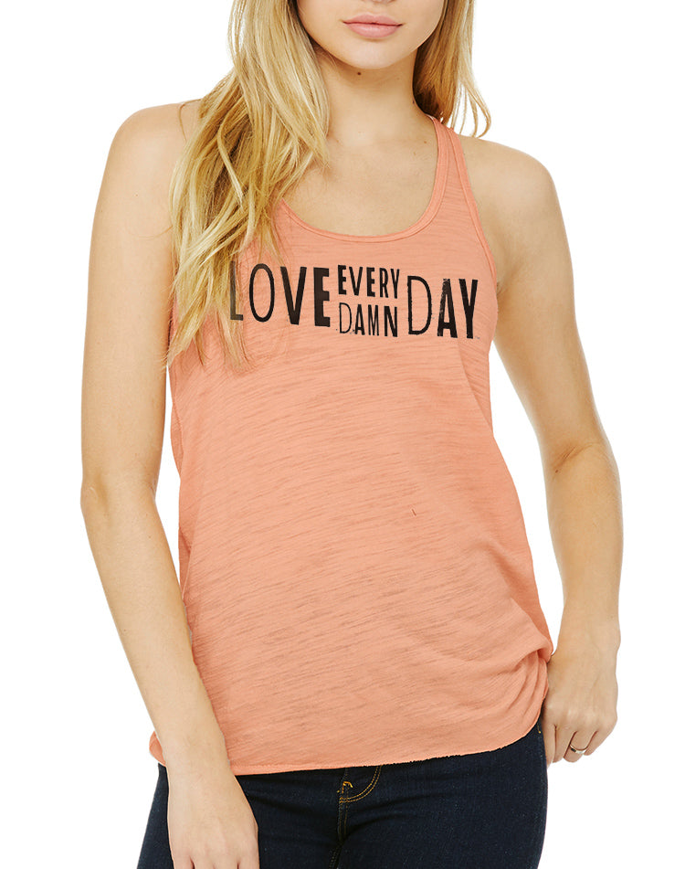 Women's Love Every Damn Day Flow Tank - Breathe in Detroit