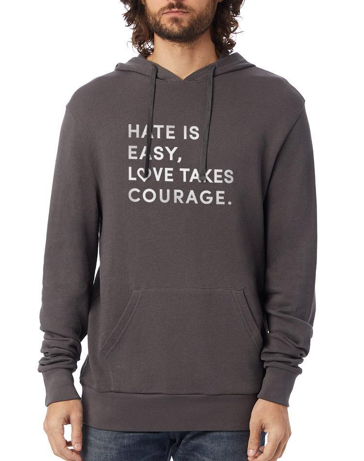Unisex Love Takes Courage Washed Terry Pullover Hoodie - Breathe in Detroit