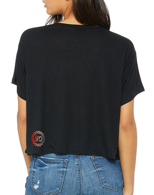 Women's I Love Vinyl Flowy Crop V-Neck Tee - Breathe in Detroit