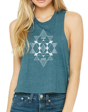 Women's Mantra Racer Crop Tank - Breathe in Detroit