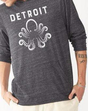 Unisex Detroit Octopus Eco Hooded Pullover - Breathe in Detroit