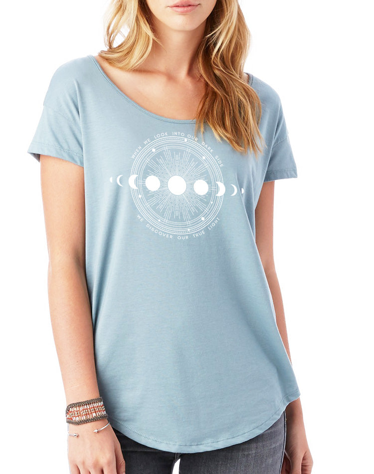 Women's Moon Shadow Flowy Modal Tee - Breathe in Detroit