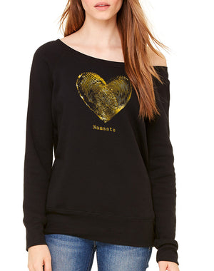 Women's Gold Shimmer Namaste Wide Neck Sweatshirt - Breathe in Detroit
