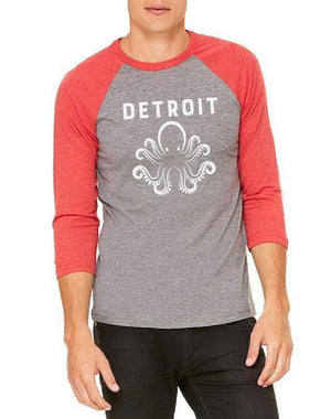 Unisex Detroit Octopus 3/4 Sleeve Raglan Baseball Tee - Breathe in Detroit