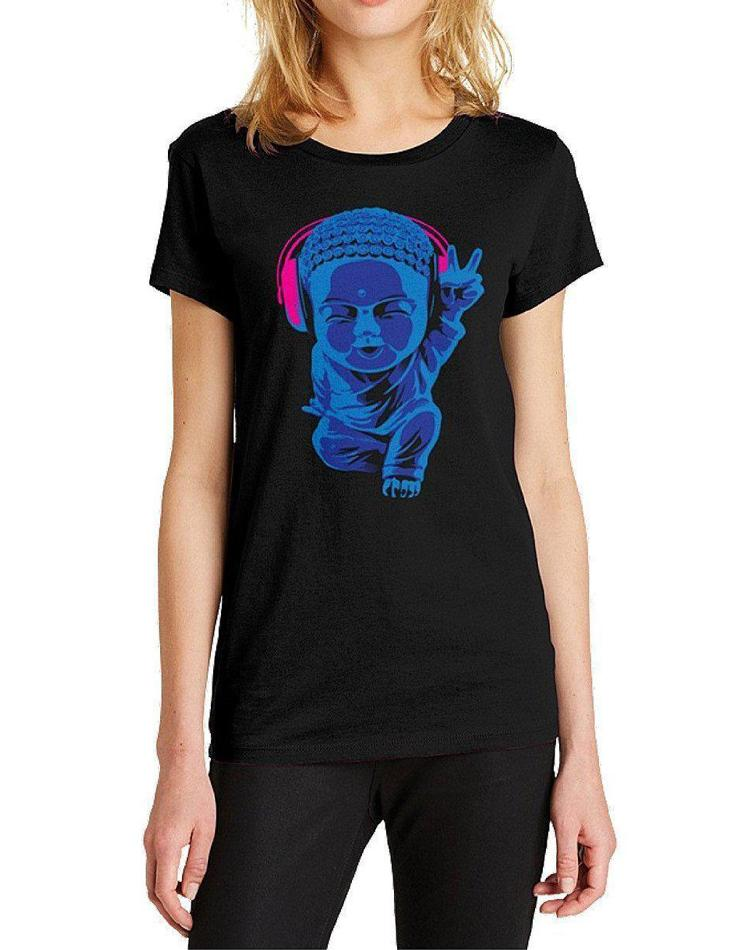 Women's Little Buddha Black Tee - Breathe in Detroit