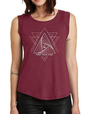 Women's Find Your Fire Cap Sleeve Tank - Breathe in Detroit