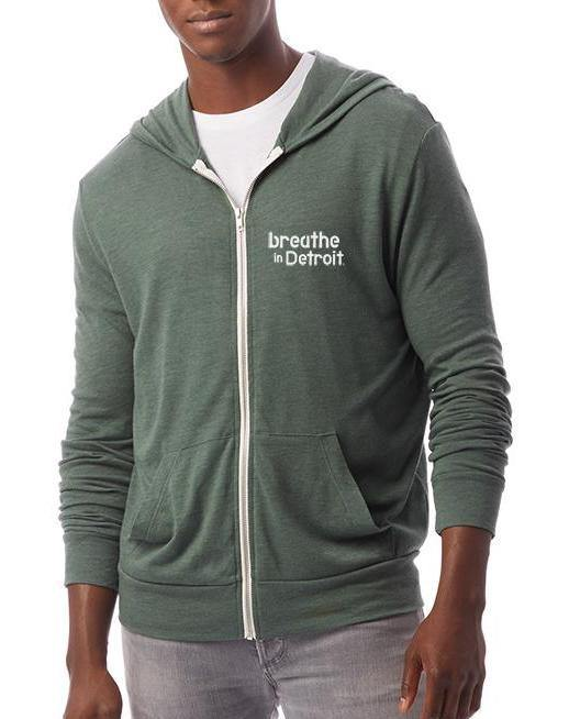 Unisex Full-Zip Eco Lightweight Hoodie with Detroit Om - Breathe in Detroit
