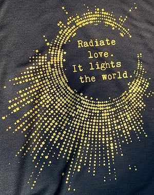 Women's Gold Shimmer Radiate Love Slinky Muscle Tank - Breathe in Detroit