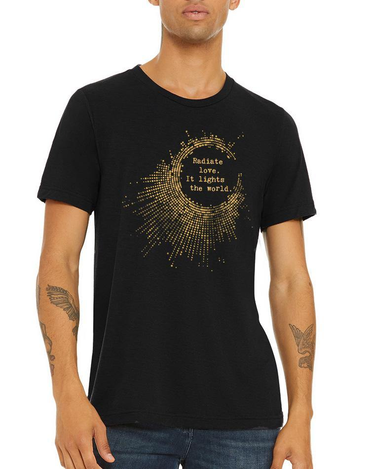 Unisex Gold Shimmer Radiate Love Triblend Tee - Breathe in Detroit