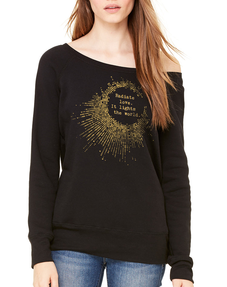 Women's Gold Shimmer Radiate Love Wide Neck Sweatshirt - Breathe in Detroit