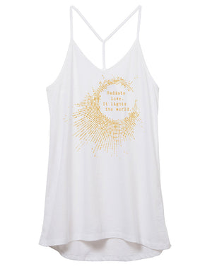 Women's Gold Shimmer Radiate Love Strappy Tank - Breathe in Detroit