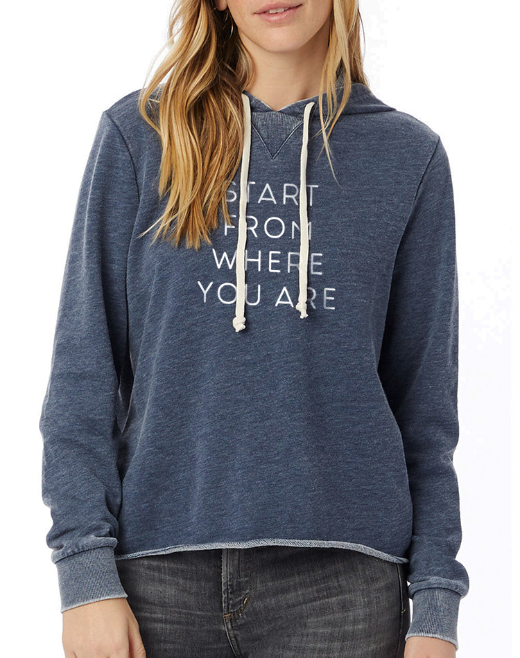 Women's Start From Where You Are French Terry Pullover Hoodie - Breathe in Detroit