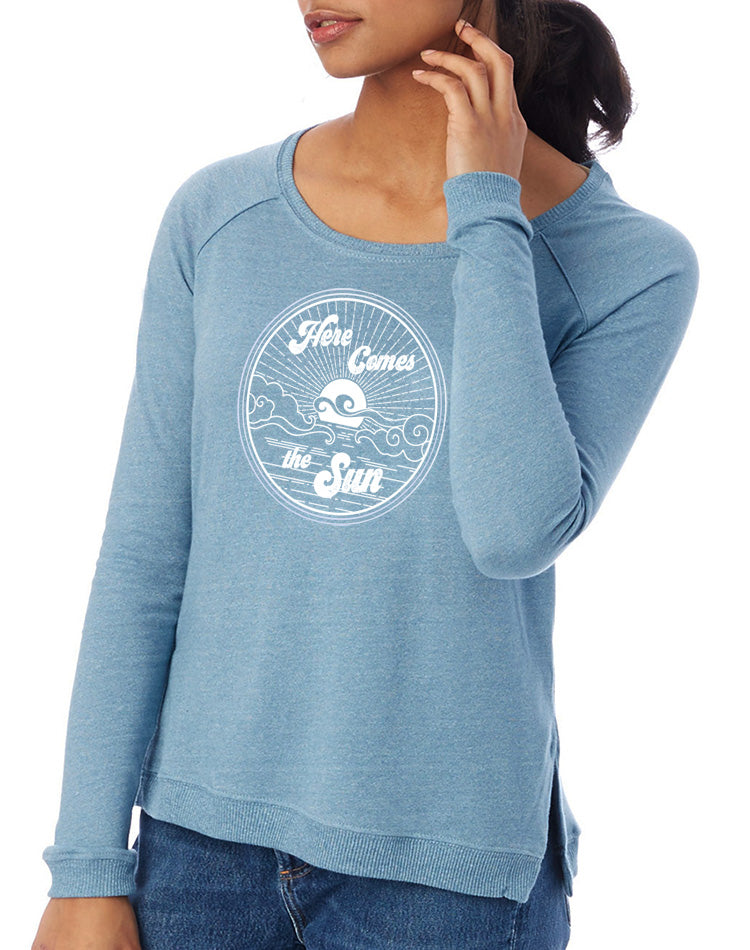 Women's Here Comes The Sun Eco Raglan Pullover - Breathe in Detroit