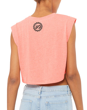 Women's Here Comes The Sun Festival Crop Tank - Breathe in Detroit
