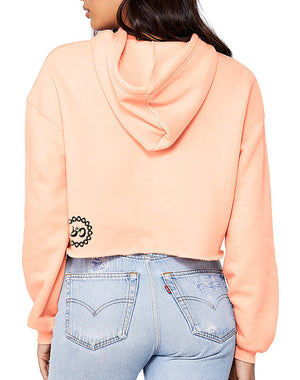 Women's Rising Lotus Cropped Fleece Hoodie - Breathe in Detroit