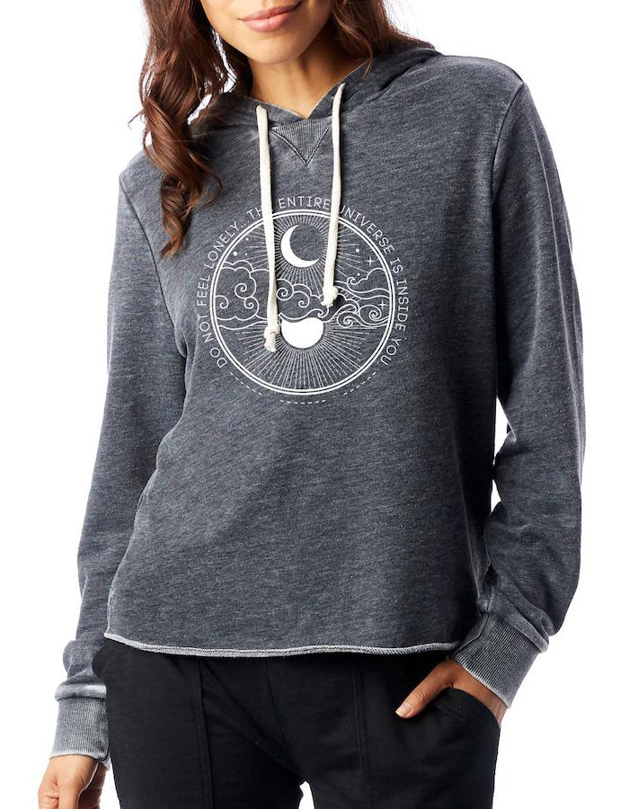 Women's Universe French Terry Pullover Hoodie - Breathe in Detroit