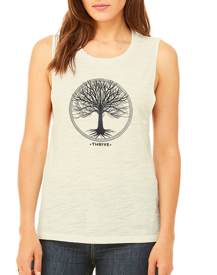 Women's Thrive Slub Muscle Tank - Breathe in Detroit