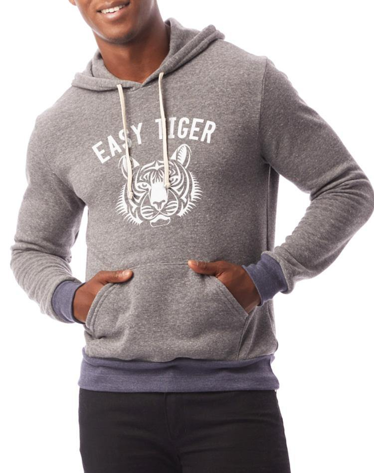 Unisex Easy Tiger Two-Tone Pullover Fleece Hoodie - Breathe in Detroit
