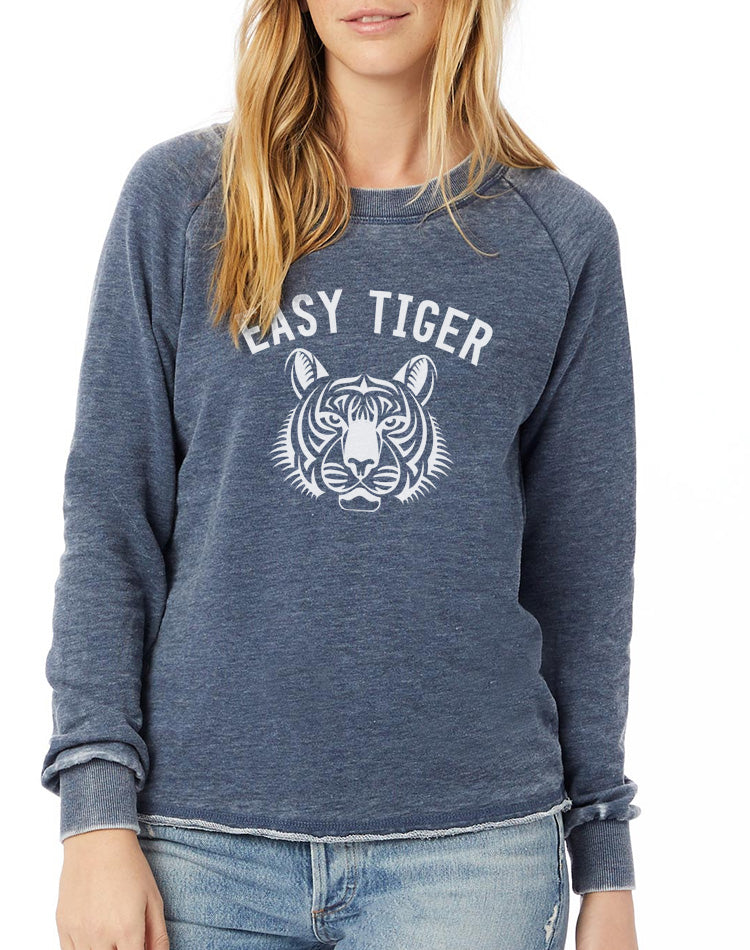 Women's Easy Tiger French Terry Loved-In French Terry Pullover - Breathe in Detroit