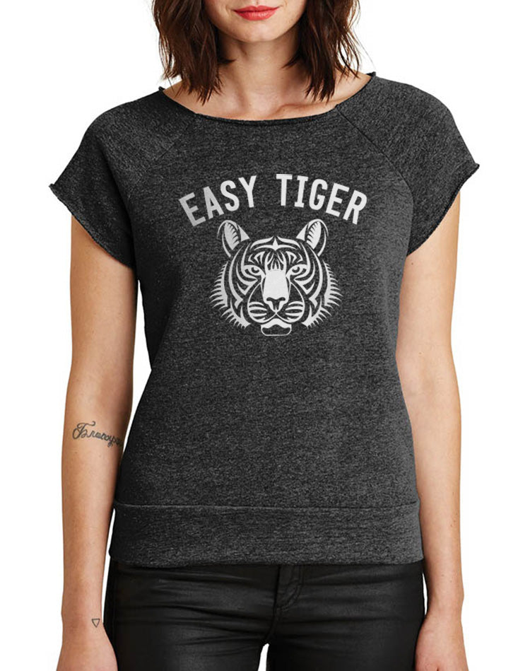 Women's Easy Tiger Cutoff Sleeve Eco-Fleece - Breathe in Detroit