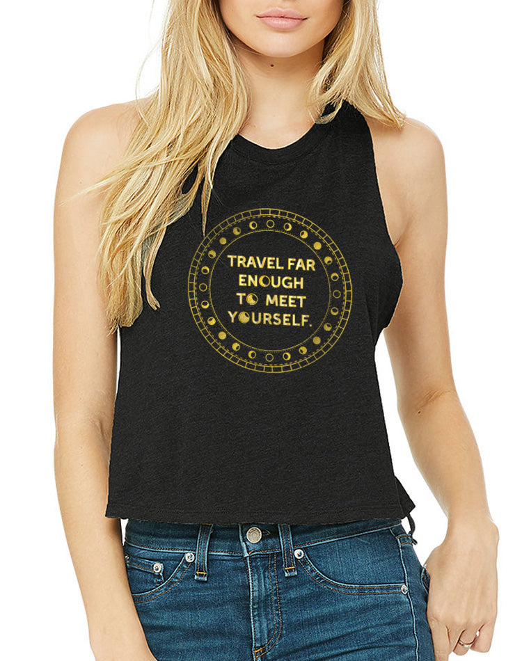 Women's Gold Shimmer Travel Far Enough Racer Crop Tank - Breathe in Detroit