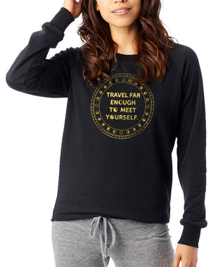 Women's Gold Shimmer Travel Far Enough Loved-In Pullover - Breathe in Detroit