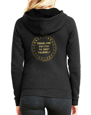 Women's Gold Shimmer Travel Far Enough Favorite Fleece Zip Hoodie - Breathe in Detroit