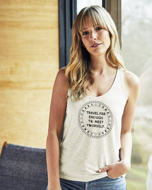Women's Travel Far Enough Slinky Jersey Tank - Breathe in Detroit