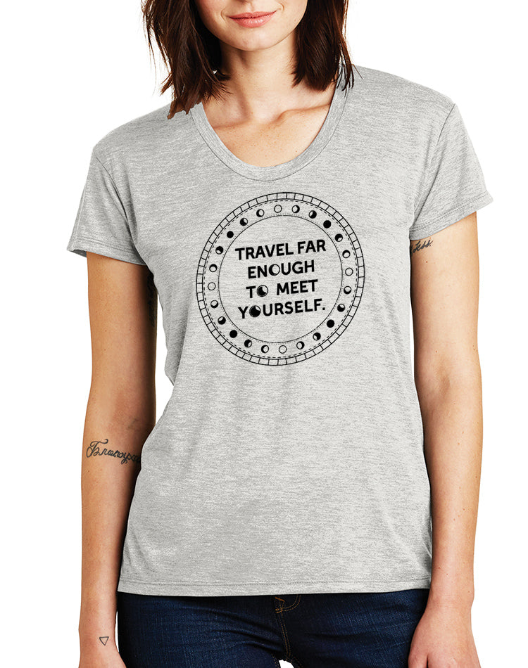 Women's Travel Far Enough Slinky Heathered Tee - Breathe in Detroit