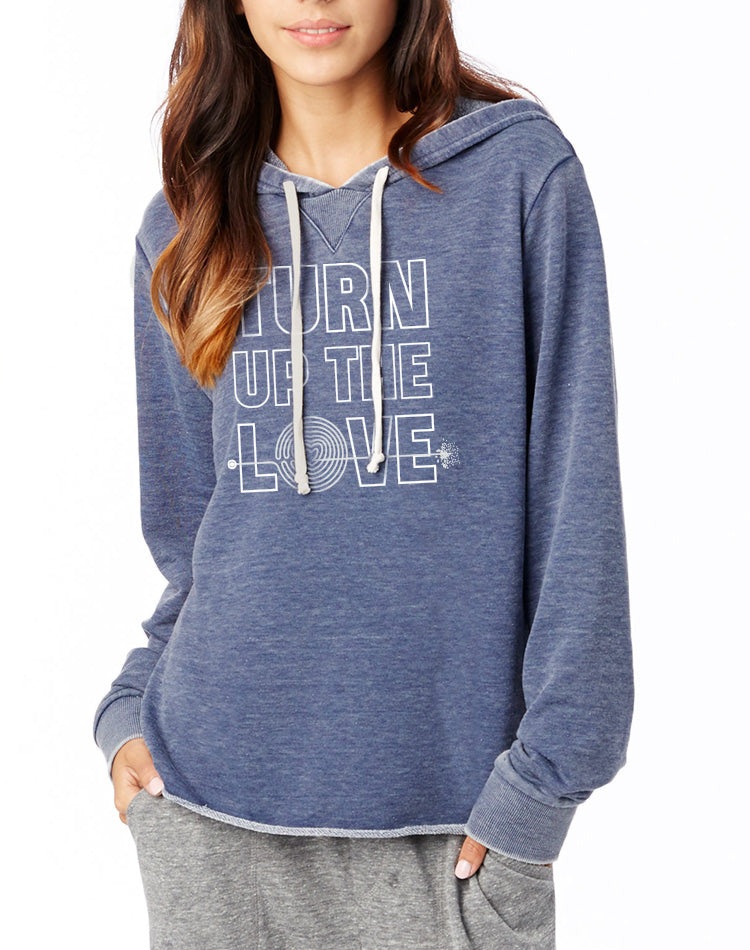Women's Turn Up the Love French Terry Pullover Hoodie - Breathe in Detroit