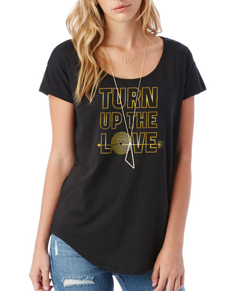 Women's Gold Shimmer Turn Up The Love Flowy Modal Tee - Breathe in Detroit