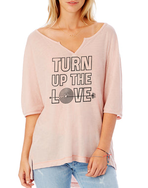 Women's Turn Up The Love Slouchy Eco Gauze Tee - Breathe in Detroit