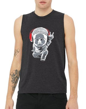 Unisex Little Buddha Muscle Tank - Breathe in Detroit