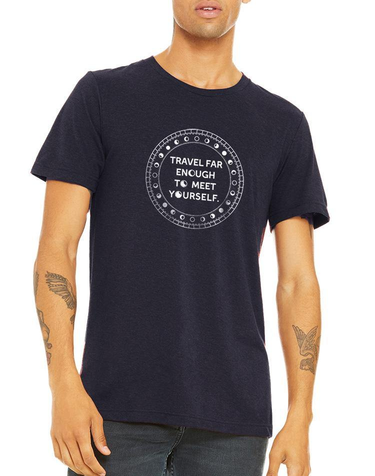 Unisex Travel Far Enough Triblend Tee - Breathe in Detroit