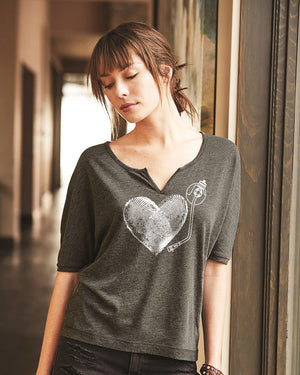 Women's I Love Vinyl Slouchy Eco Gauze Tee - Breathe in Detroit