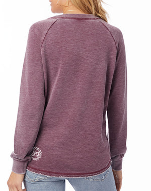 Women's Turn Up The Love Loved-In French Terry Pullover - Breathe in Detroit