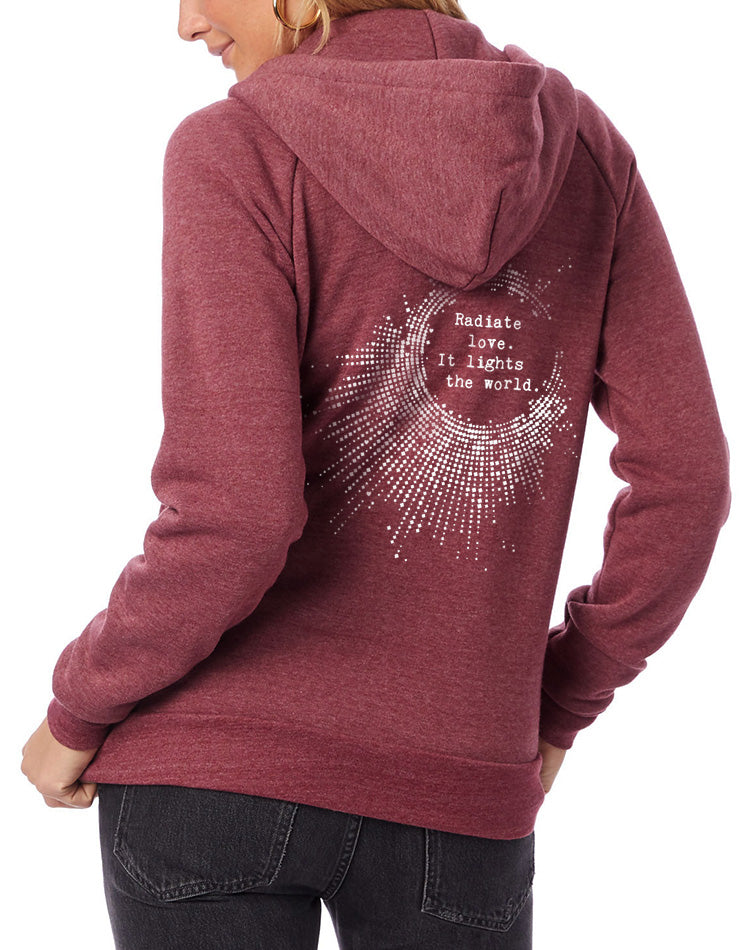 Women's Radiate Love Eco-Fleece Full-Zip Hoodie - Breathe in Detroit