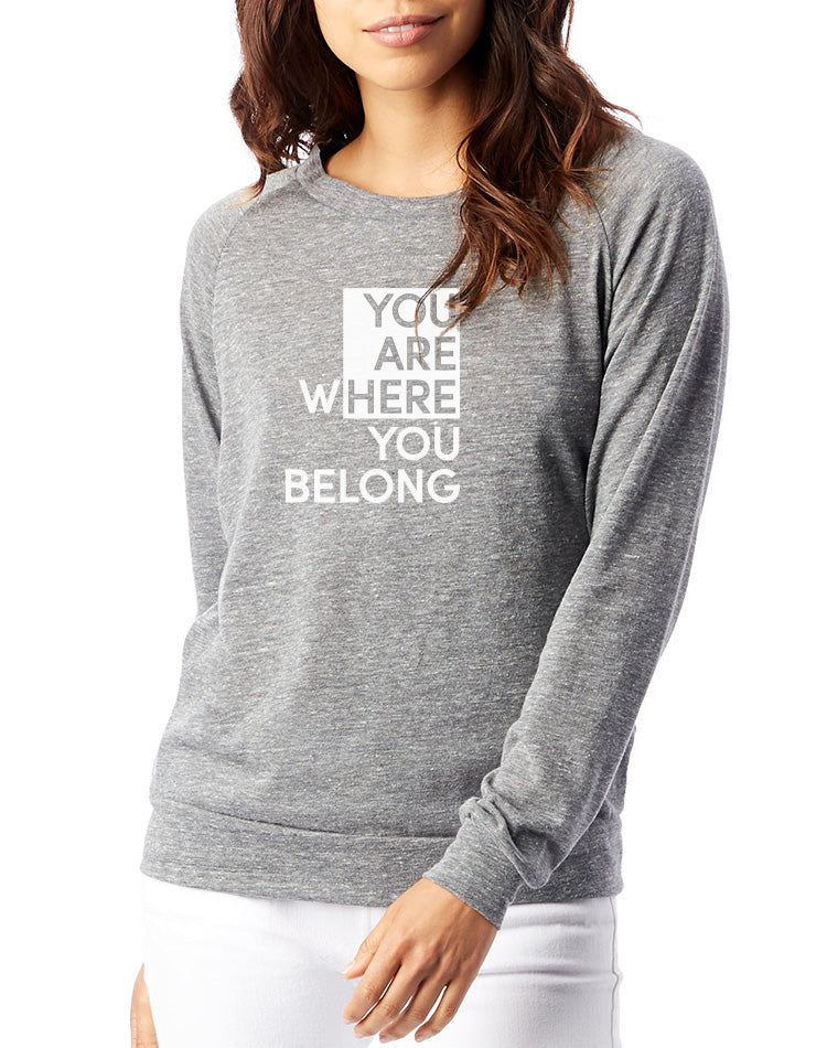 Women's You Are Here Slouchy Pullover - Breathe in Detroit
