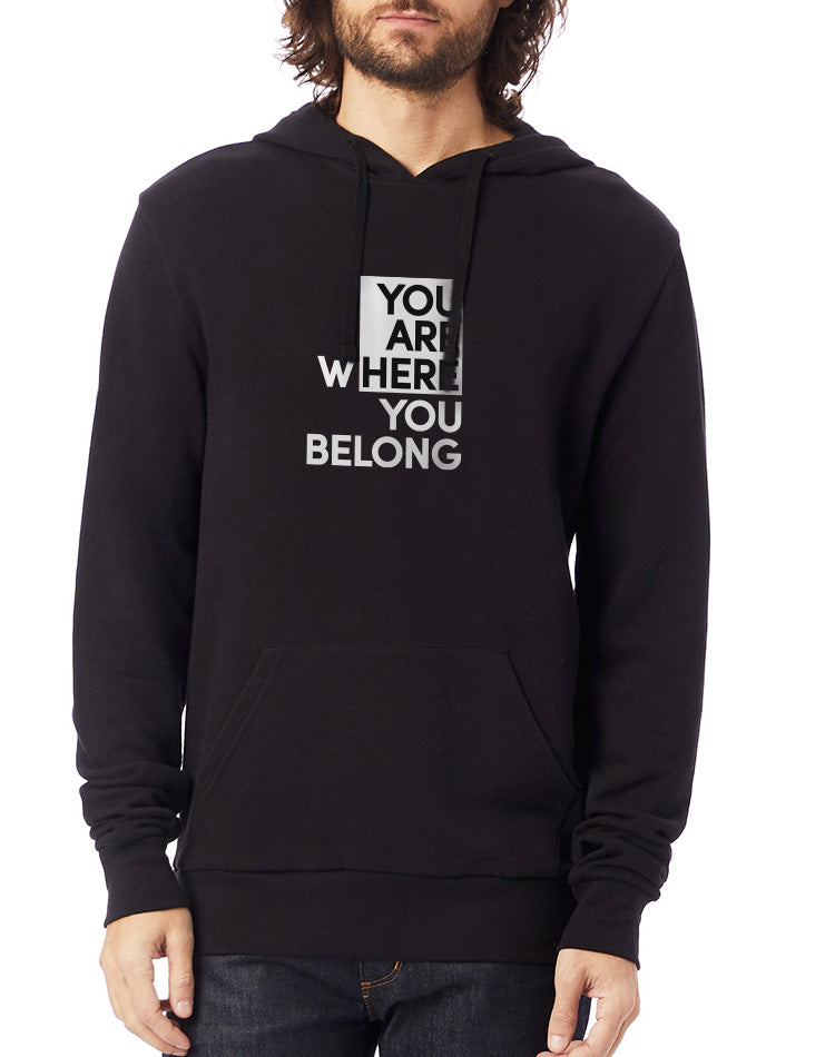 Unisex You Are Here Washed Terry Pullover Hoodie - Breathe in Detroit